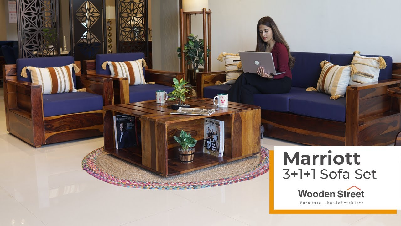 Latest Wooden Sofa Design 2020  | Marriott Wooden Sofa 3+1+1 Set by Wooden Street