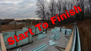 ICF basement start to finish stacking, pouring and clean up #nudura #icf