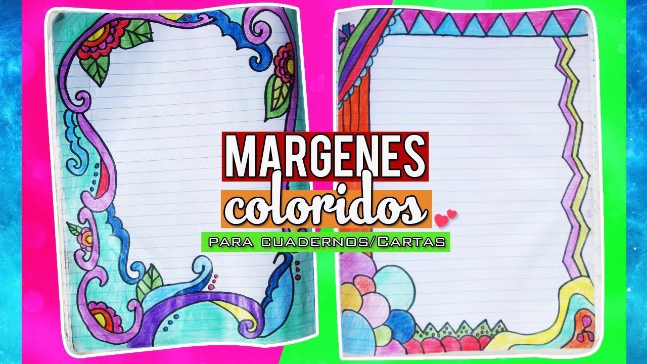 Marcos Coloridos Para Hojas: Margenes Coloridos Para Cuadernos/Cartas