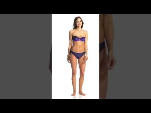 Adidas Women's Overlay Stripe Underwire Bandeau Bikini | SwimOutlet.com