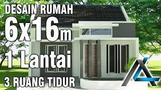 Desain rumah lebar 6 meter#1 lantai#3 kamar#
