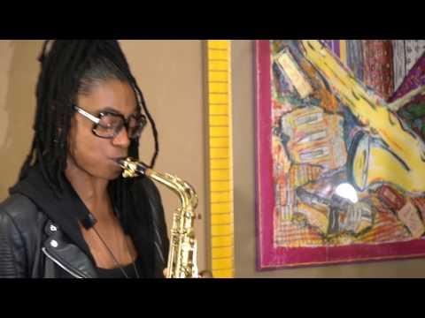 Lakecia Benjamin visiting the Vandoren showroom in Paris