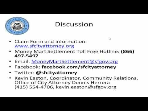 WEBINAR: SF City Attorney Money Mart Settlement