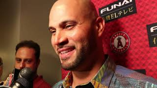 <b>Albert Pujols</b> talks after his first game as a visitor at Busch Stadium ...