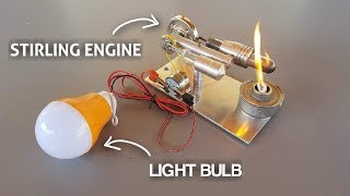 COOL Mini STIRLING ENGINE Powering Up A Light Bulb
