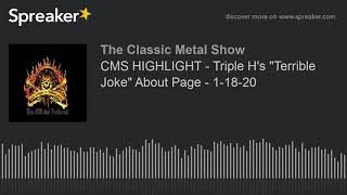 """CMS HIGHLIGHT – Triple H's """"Terrible Joke"""" About Paige – 1-18-20"""