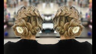 Прическа с косами.  Цветок из волос