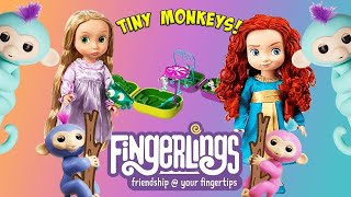 Smallest Monkeys in The World! Fingerlings Unboxing With Merida and Rapunzel!   Princess World