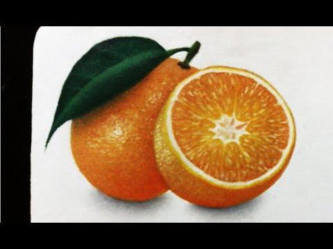 Como dibujo una naranja realismo Drawing orange  HD  YouTube