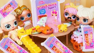 LOL Surprise Dolls Slime Dippers, Color Changing Scented Num Noms Fake Vs Real Surprise Lil Sisters!