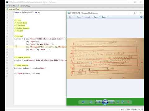 Lesson 2 - Various Widgets -Tutorial - Python GUI Programming using  PySimpleGUI
