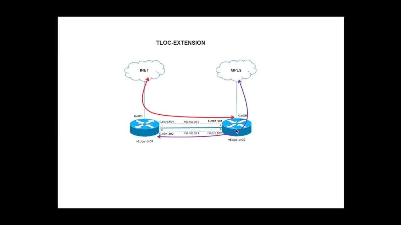 Viptela (Cisco SD WAN) TLOC extension demo