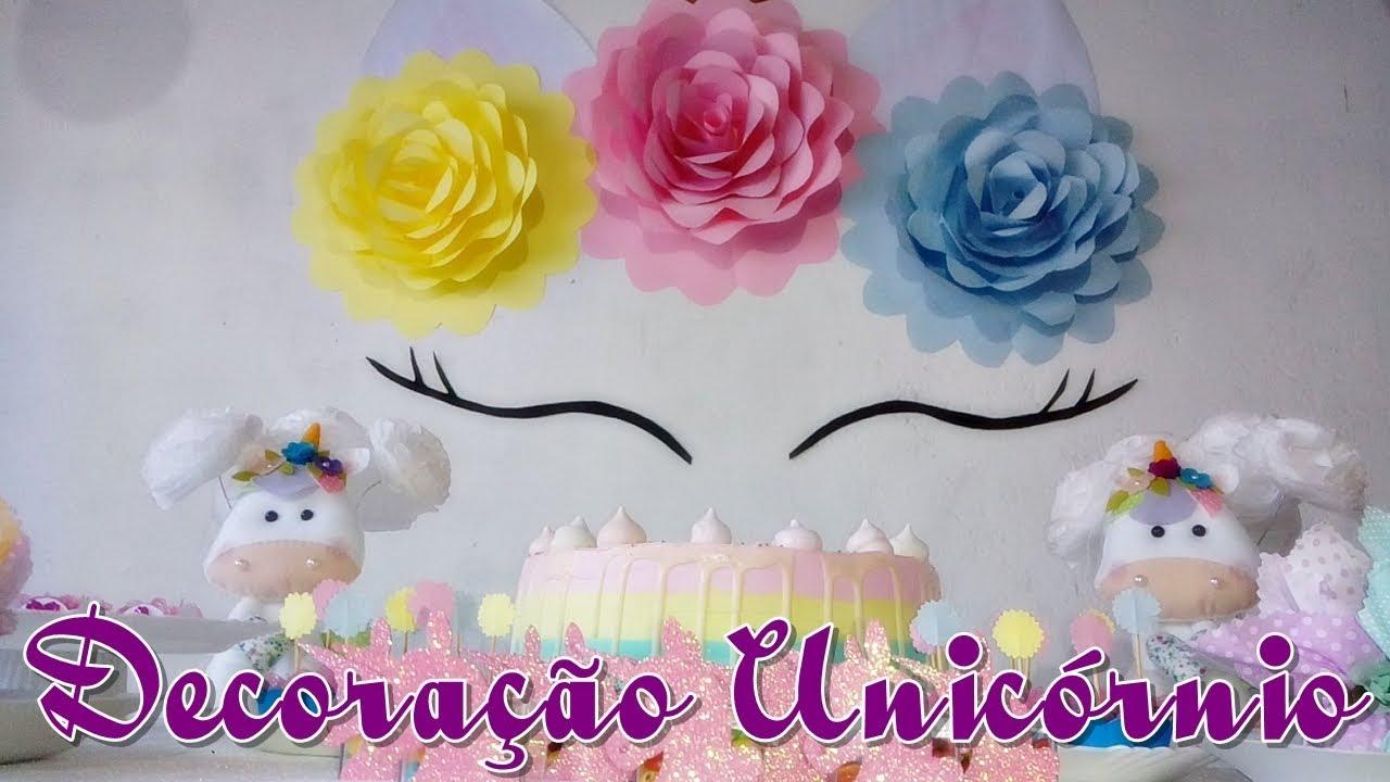 Decoraç u00e3o Unicórnio Simples e Barata YouTube -> Decoracao De Unicornio Infantil