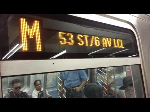 IND 6th Avenue Line: Brooklyn Bound R160 (M) Train Entering & Leaving @ Broadway-Lafayette Street