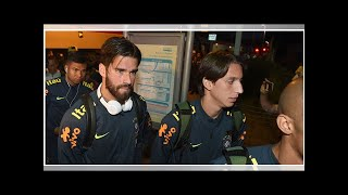 Watch as Brazil's international squad arrive in Liverpool