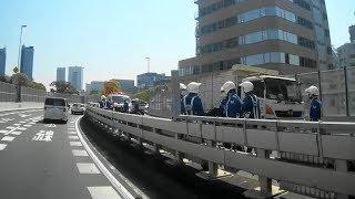 バイクの単独事故で首都高C1通行止めで大渋滞❗️白バイで合流地点封鎖❗️高速隊が多数臨場❗️