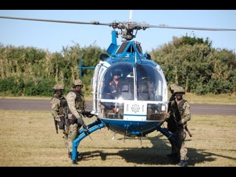 SAPS MBB BO-105 Helicopter Lands with STF Members
