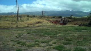 Sugar Cane Train - real steam engine blowdown over bridge (Maui)