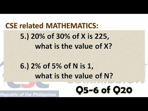 Q5&6: Civil Service Exam Related MATHEMATICS About Finding The Value/number [percentage]