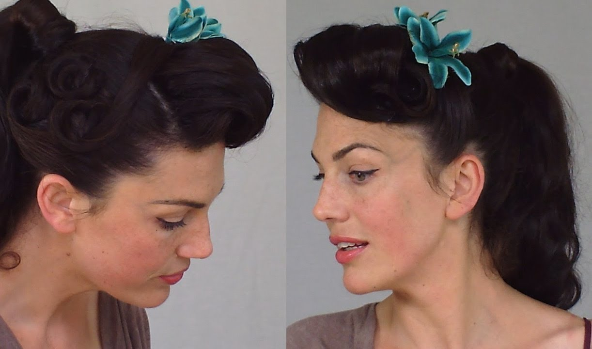 Pin Up Ponytail Easy Practical Vintage Hairstyle Youtube