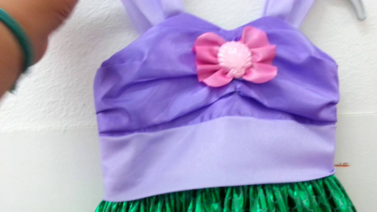 Vestido para fiesta, tema la pequeña sirenita - YouTube