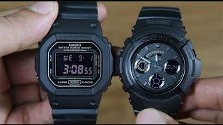 casio g shock dw 5600ms 1 vs g shock aw 591bb 1a design compare