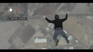 Repeat youtube video Man jumps out of plane with no parachute, lands on trampoline
