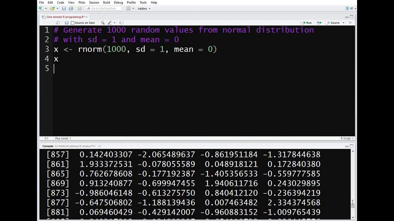 generate random number in r normal distribution