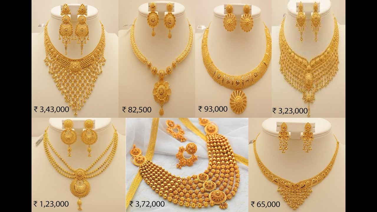 Latest Gold Jewelry Design With Price Latest Bridal Gold Haram And Necklace Designs With Price Youtube