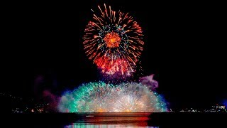 諏訪湖 花火 2018 Kiss of Fire 水上大スターマイン  [4k] Suwako Fireworks Festival Japan