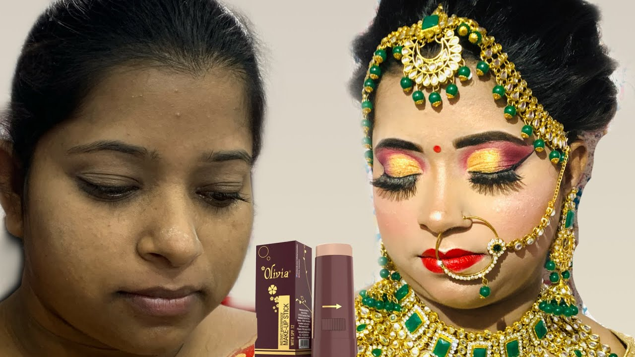 Olivia pan stick से कम से कम बजट में कैसे करे Hd Bridal Makeup|bridal series|shrutimakeover
