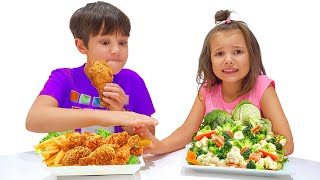 Max and Katy Pretend Play School & Eat not Healthy food