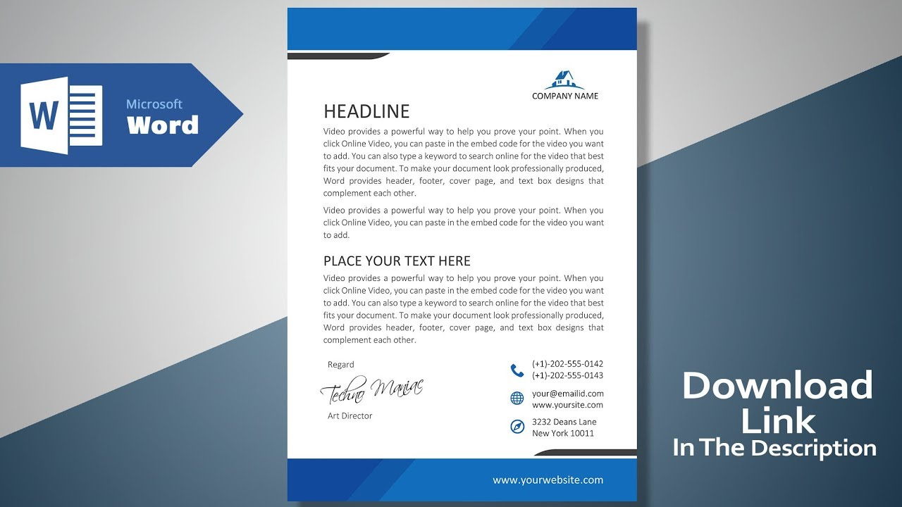 Create A Modern Professional Letterhead Free Template Ms Word Letterhead Tutorial Version 2 0 Youtube