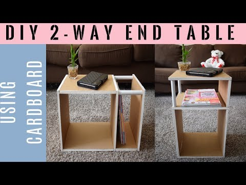 DIY: 2 - way end table/side table with magazine holder using cardboard | Simple & cheap furniture