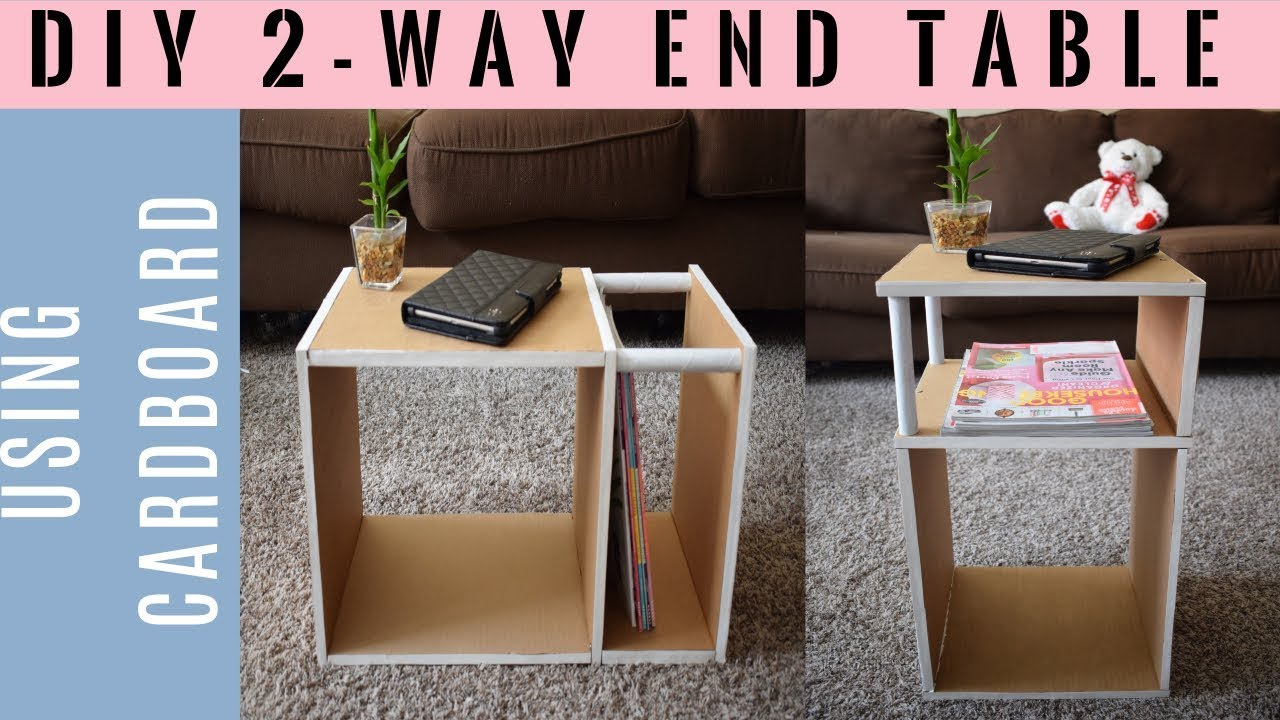 DIY: 2   Way End Table/side Table With Magazine Holder Using Cardboard |  Simple U0026 Cheap Furniture