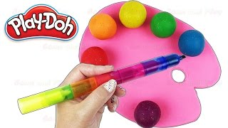 Learn Colors with Play Doh Paint Pallet Ice Cream Peppa Pig Nursery Rhymes Fun & Creative for Kids
