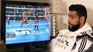 😳 Amir Khan's reaction to Terence Crawford's brutal KO of Jose Benavidez