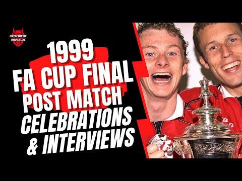 Man Utd v Newcastle 1999 Post FA Cup Final Celebrations & Interviews