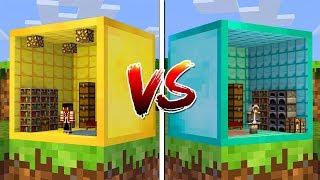 Minecraft: CASA DENTRO DO BLOCO DE OURO VS CASA DENTRO DO BLOCO DE DIAMANTE!