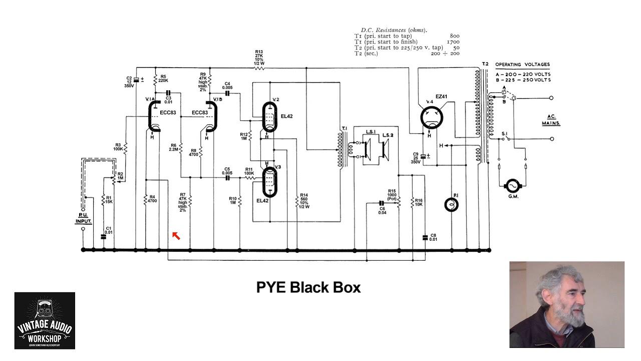Valve Amplifier Study 018: Pye Black Box Record Player; EZ41, EL42 on