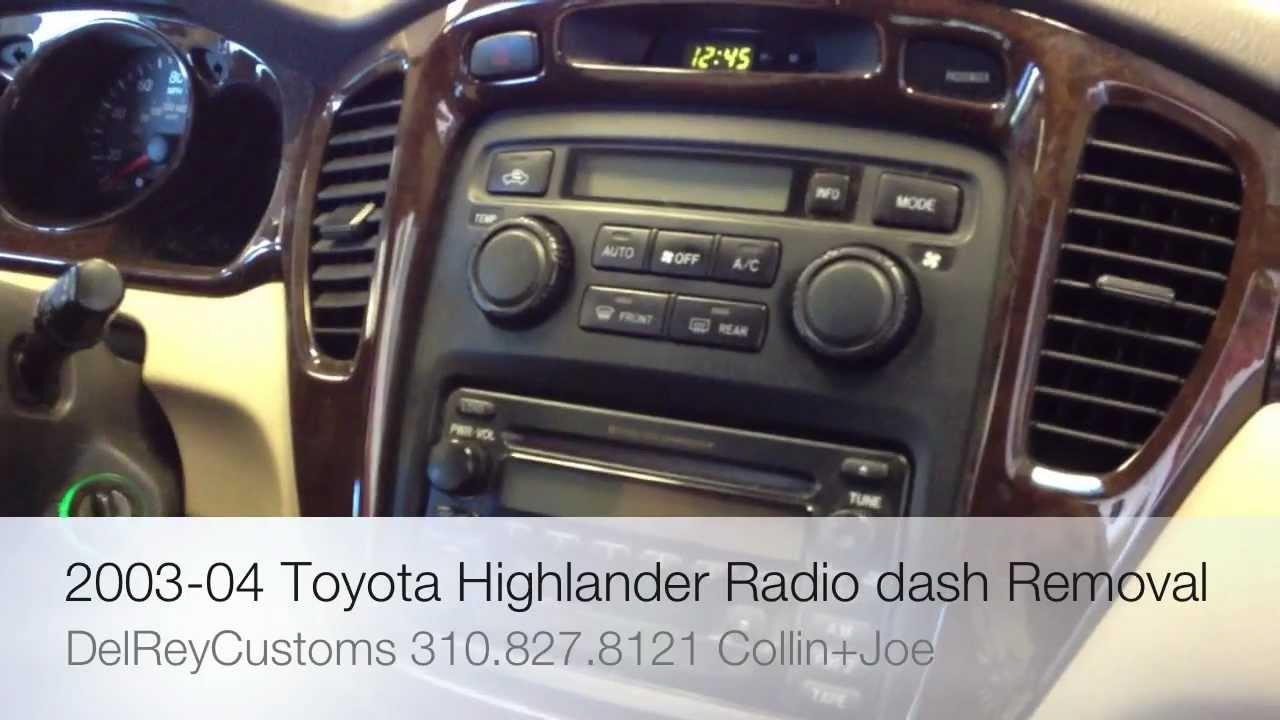 How To Remove TOYOTA HIGHLANDER RADIO diy stereo dash 2003