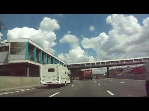 Car drive on the M1 Motorway - from Junction 1 up to around Junction 32 - 16th May 2013