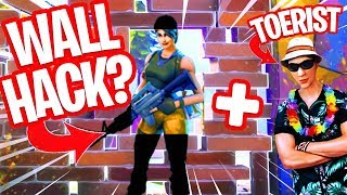 THROUGH WALLS LOOK THROUGH a BUG in FORTNITE!! and a tourist skin!