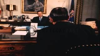 General Earl G. Wheeler meets Secretary of Defense Robert S. McNamara in Virginia...HD Stock Footage