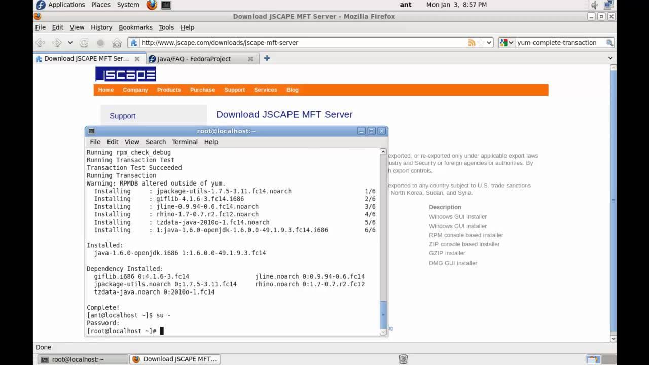 Installing JSCAPE MFT Server & Java - RPM Linux (Fedora)