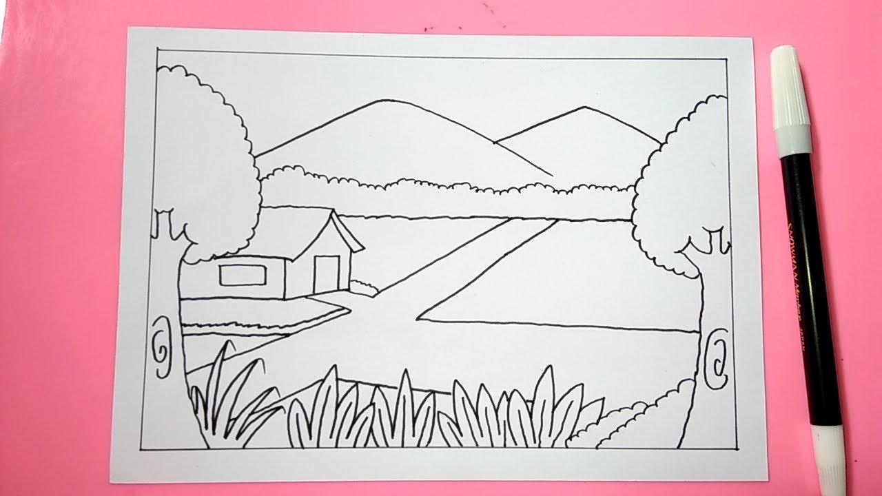 Cara Mudah Menggambar Pemandangan Alam Gunung Sawah Dengan Mudah Part 1 Youtube