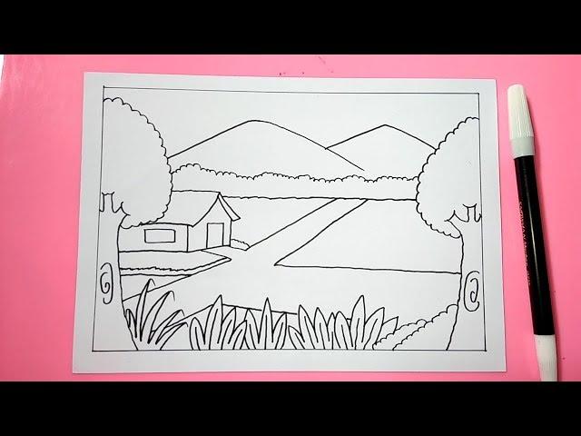 Cara Mudah Menggambar Pemandangan Alam Gunung Sawah dengan Mudah Part 1