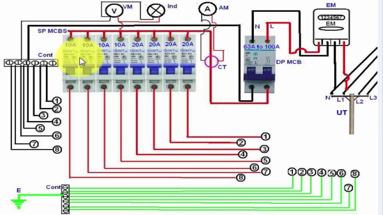 single phase distribution board wiring diagram english tutorial  [ 1280 x 720 Pixel ]