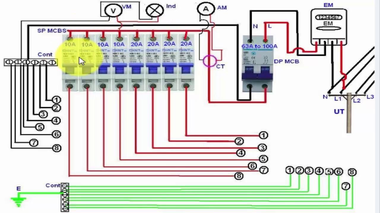 Single Phase Distribution Board Wiring Diagram (English