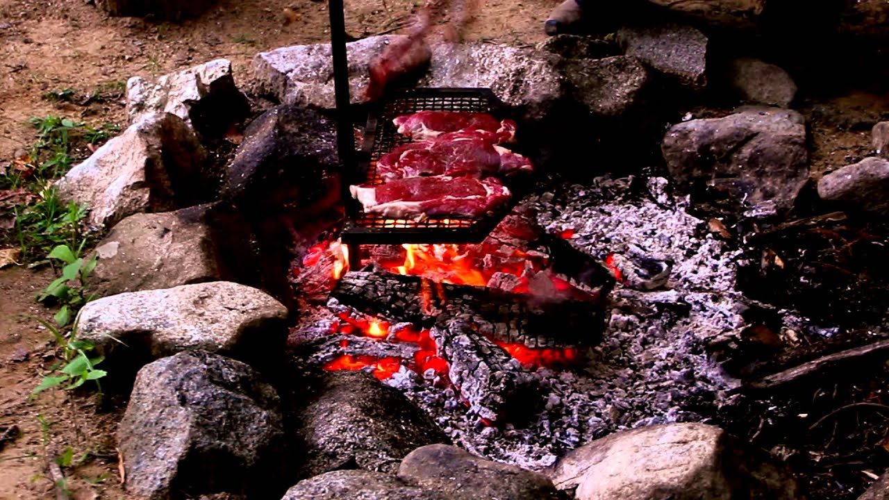 Grilling Steaks Over Wood Fire Time Lapse Youtube